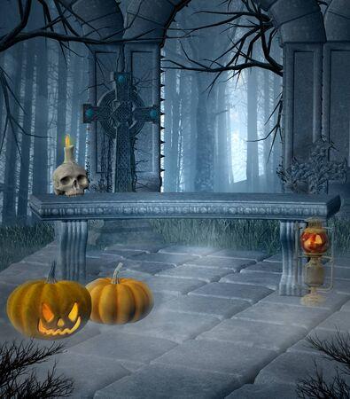 Halloween pumpkins in an old foggy cemetery 版權商用圖片