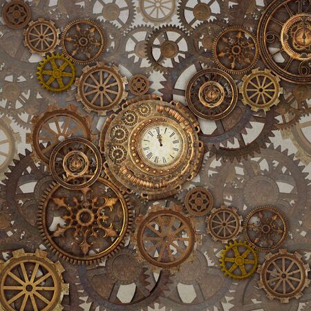 Golden steampunk background with lots of cogwheels