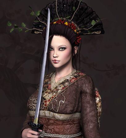 Warrior women series: beautiful 3d girl in kimono holding a sword 版權商用圖片