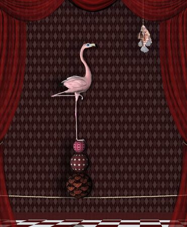 Surreal stage with a flamingo looking for food