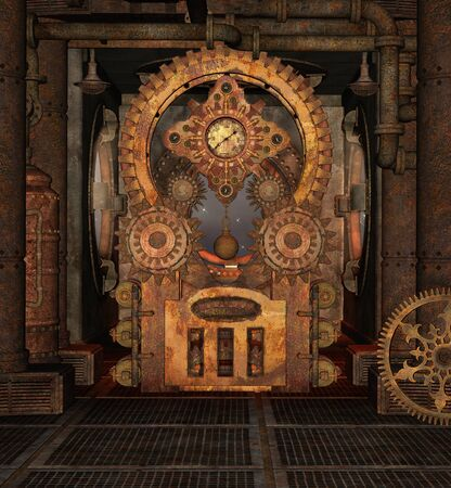Steampunk rusty room with a big cog wheel 版權商用圖片
