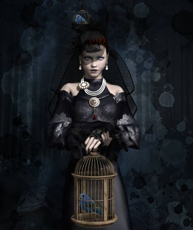 Black widow with a bird in a cage? 3D render