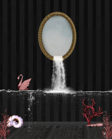 Waterfall pouring out of a mirror frame inside a dark room 版權商用圖片