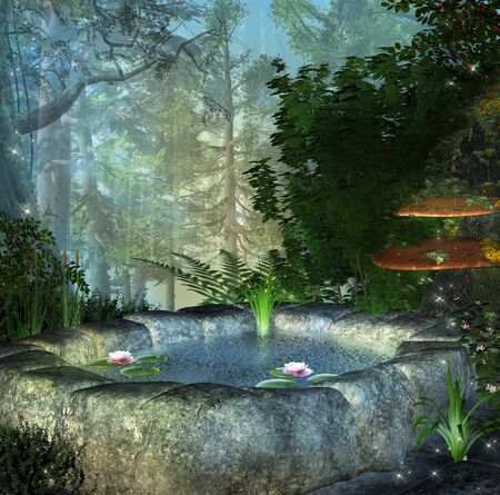 Fairy secret pond in the enchanted forest