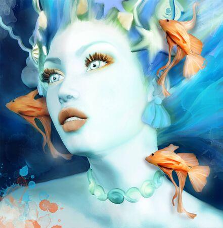 Beautiful mermaid in an underwater scenery