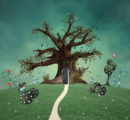 Magic tree with open door in the enchanted green garden 版權商用圖片