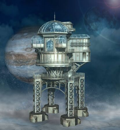Steampunk fantasy space station
