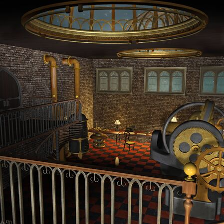 Overview of a steampunk laboratory with machines and pipes Zdjęcie Seryjne