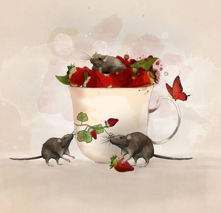 Surreal illustration with a cup of strawberries and lovely mice