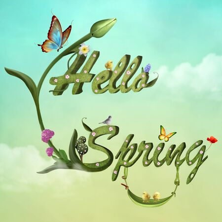 Hello spring greeting with flowers and butterflies on a pale green sky