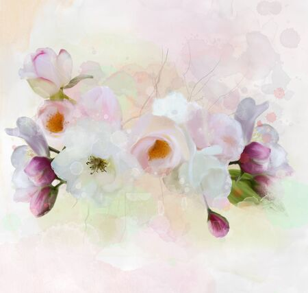 composition of white roses and violet cherry blossoms