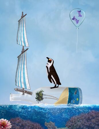 Natural habitat and climate change concept: penguin on a bottle sailing to south pole Zdjęcie Seryjne