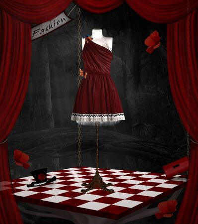 Fashion room with red curtains in a surreal scenery