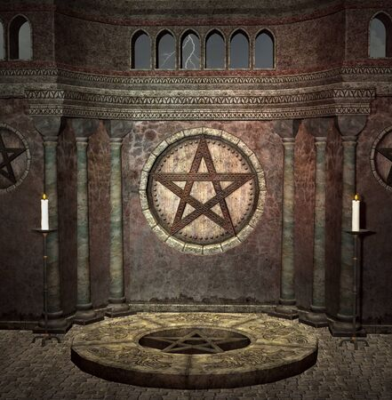 Medieval dark chamber with a pentacle