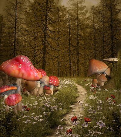 Enchanted footpath through the misty forest with big red mushrooms