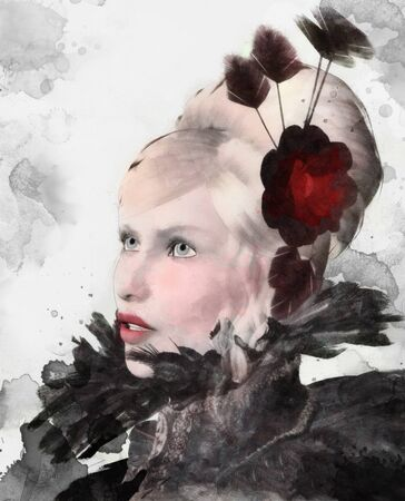 Glamor portrait of a blonde woman with feathers and flowers? digital watercolor illustration