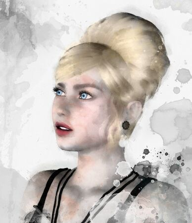 Portrait of an elegant blonde woman? 3D and digital watercolor illustration