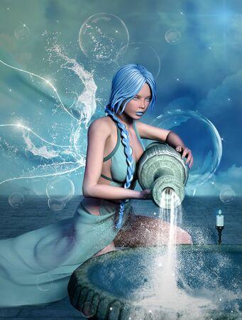 Zodiac series Aquarius as a beautiful girl with angel wings