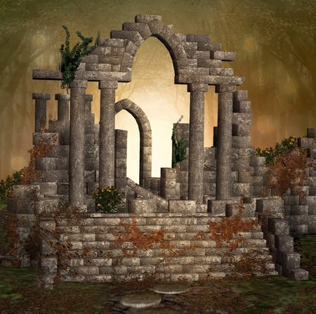 Ruins of an ancient place of worship in a golden light forest Zdjęcie Seryjne