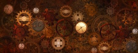 Industrial steampunk machine with an intricate clockwork made of wheels and clocks Zdjęcie Seryjne