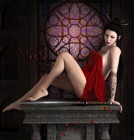 Oriental beauty resting herself in a temple with her sword