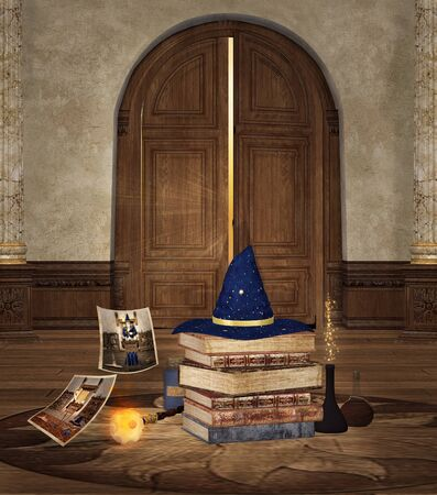 Wizard hat and ritual objects in an old alchemical room