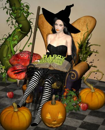 Sexy halloween witch surrounded by pumpkins 版權商用圖片