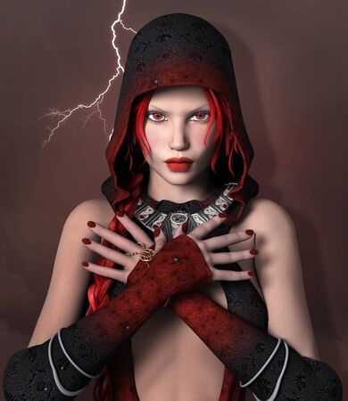 Redhead lady with a medieval headgear