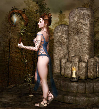 Sexy redhead fairy by a magic altar in a misty forest