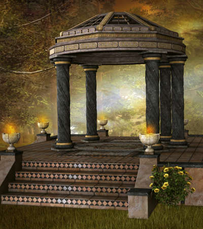 Ancient gazebo in the foggy forest 版權商用圖片