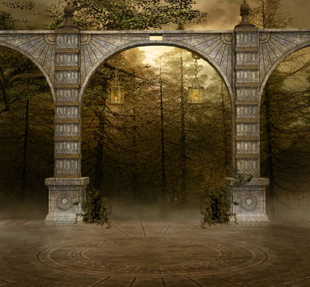 Background with ancient arcades in a misty forest