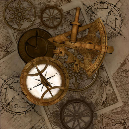 Compass and sextant on a vintage background with maps