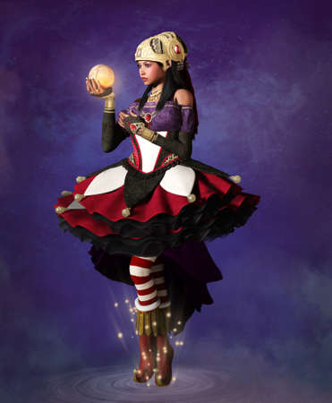 Beautiful fantasy fortune teller on a purple sky background