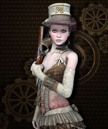 Beautiful and dangerous steampunk girl with a gun