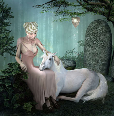 Enchanting lady and a white unicorn in the foggy forest