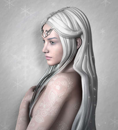 Beautiful girl with long with hair portraying winter on a snowflakes background - 3D illustration