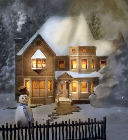 Elegant victorian house in a snowy scenery