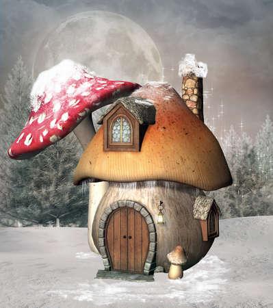Mushroom house in a winter scenery 版權商用圖片