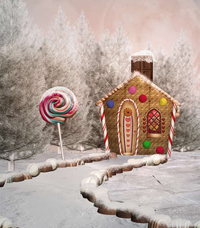 Gingerbread house in a winter scenery