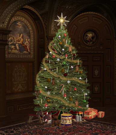 Fully decorated christmas tree in an old room