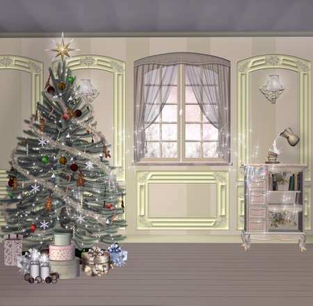 Vintage christmas room with a surreal touch