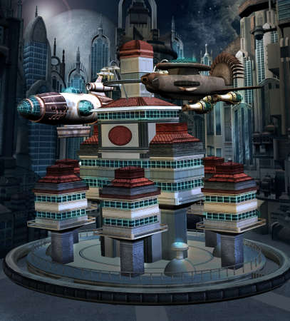 Space station with a flying spaceship in an alien city 版權商用圖片