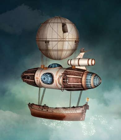 Steampunk fantasy vessel flying in a stormy sky