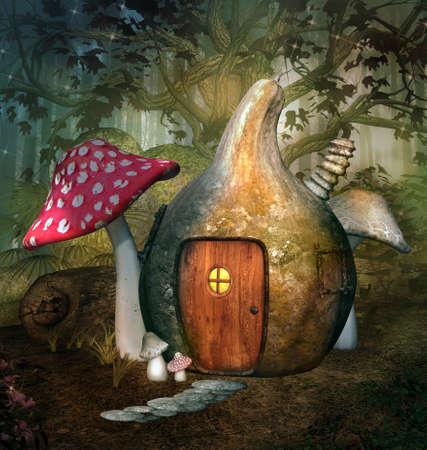 Enchanted elf house in a fantasy forest 版權商用圖片