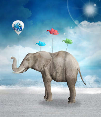 Elephant with a balloon and origami birds in a surreal seascape scenery