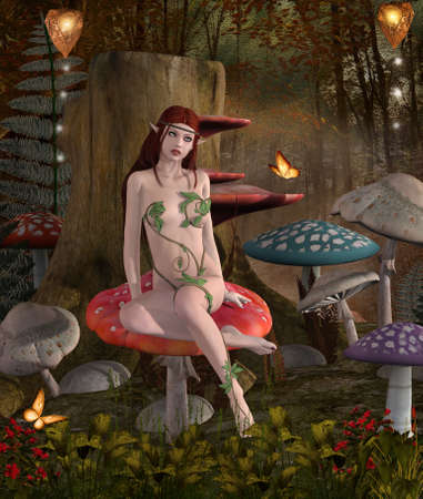 Beautiful nymph sitting on a big mushroom in the fantasy forest