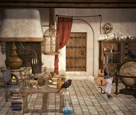 Old wizard house with a playful cat and a black raven 版權商用圖片