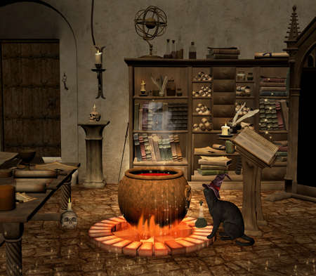 Wizard old room with a black cat watching after the spell cauldron