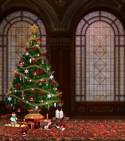 Christmas tree in an elegant living room 版權商用圖片