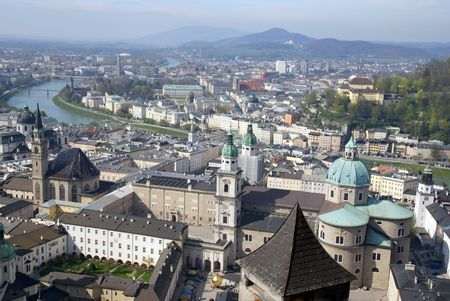 Bird-eye view of historical center of Salzburg                      photo